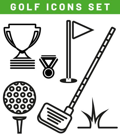Collection of stylized black golf icons - isolated on white background. Vector illustration.