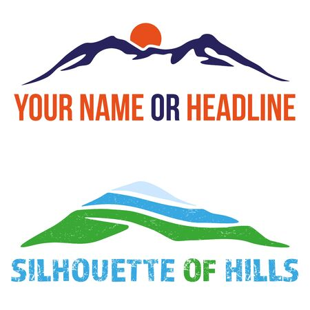 Two stylized illustrations of abstract hills - template for your brand etc. Vector illustration.