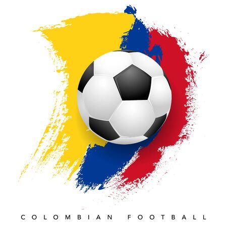 Grungy Colombian flag with soccer ball on white background - Colombian football symbols. Vector illustration. Vector Illustration