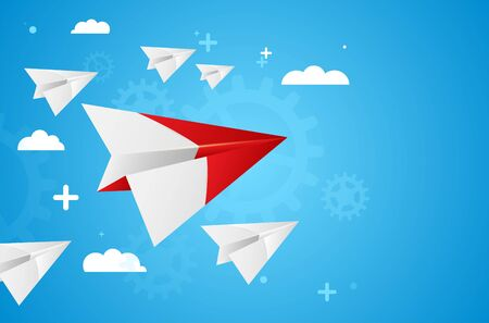 Leadership concept - group of white paper planes with red leader on blue background. Vector illustration.