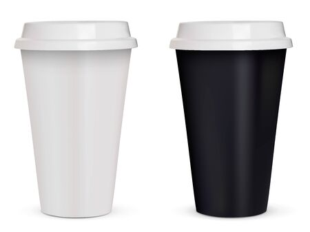 Template of two coffee to go plastic cups - white and black. Isolated on white background. Vector illustration. Vecteurs