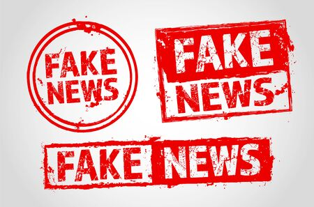 Set of grungy red stamps with FAKE NEWS inscription - vector illustration