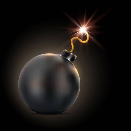 Round black bomb with lit fuse on dark background - vector illustration Ilustración de vector