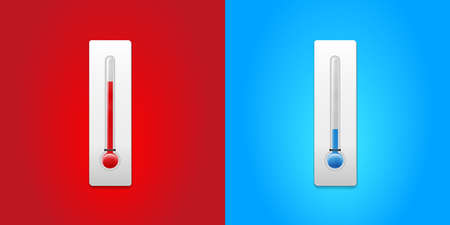 Two abstract thermometers as a symbol of hot and cold weather - vector illustration  イラスト・ベクター素材