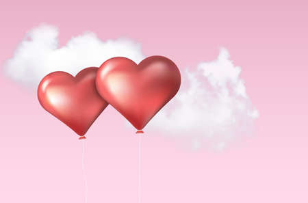 Two inflatable balloons in heart shape and sky with clouds - copy space for your text. Vector illustration.