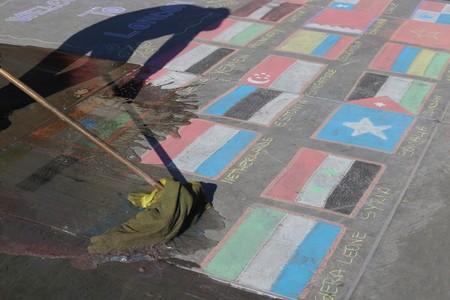 international crisis: London, UK, 04042016. Washing up countries as a symbol of international crisis