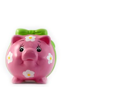 bankomat: piggy at white background- place for text at the white background