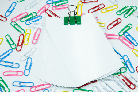 paper clips: Multi coloured writing paper clips Stock Photo