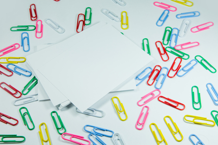 large group of object: Multi coloured writing paper clips Stock Photo