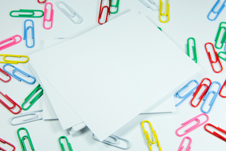 sheet metal: Multi coloured writing paper clips Stock Photo