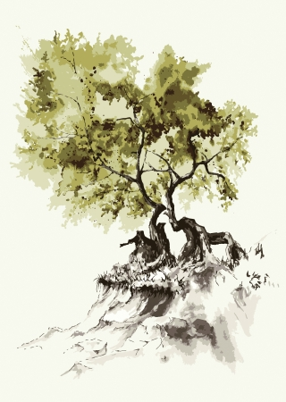 A tree growing on the hill slope  Illustration
