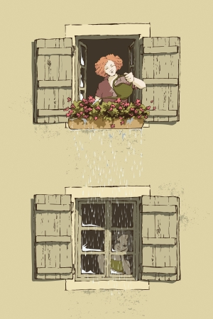 window sill: Metaphor of how people s actions can affect others  Illustration