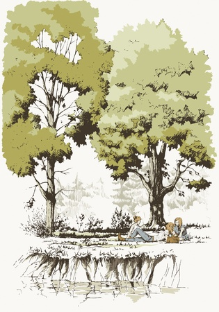 Teen girls playing hooky on the glade by the river  Illustration