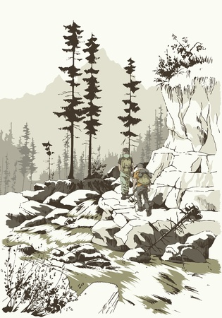 Two tourists on a hiking trip in the mountains  Vector