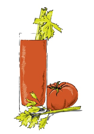 Glass of bloody mary with celery and tomato