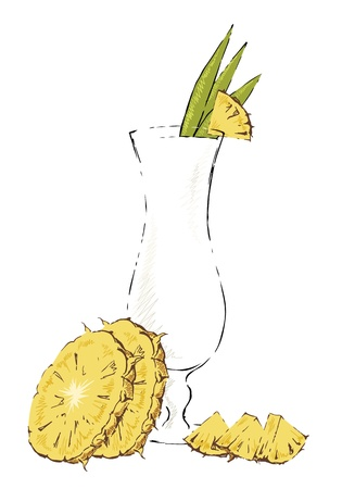 Glass of Pina Colada garnished with pineapple.