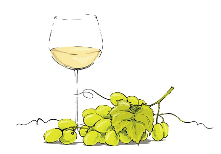 Glass of white wine and a bunch of grapes. Illustration
