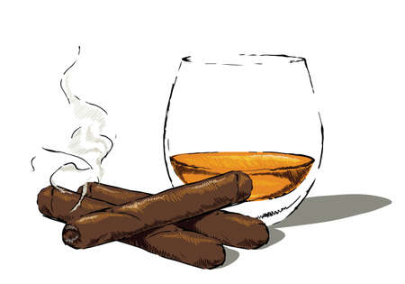 Glass of whisky and a smoking cigar.