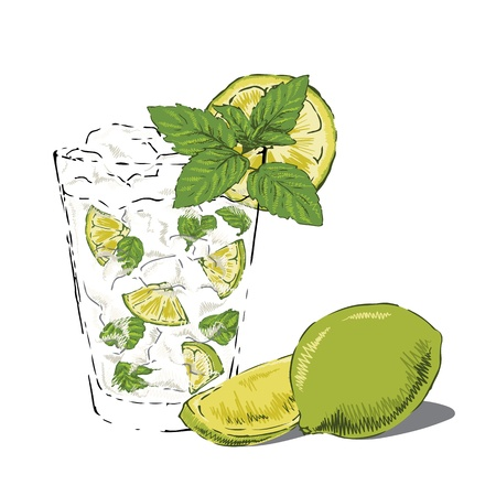 Glass of mojito garnished with fresh mint and lime.