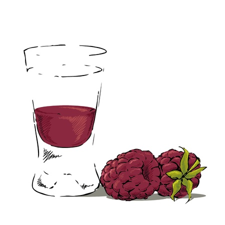 Glass of vodka with raspberry juice and two raspberries. Illustration