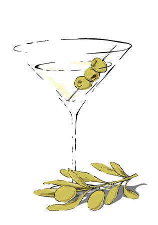 Glass of martini garnished with olives and an olive twig.