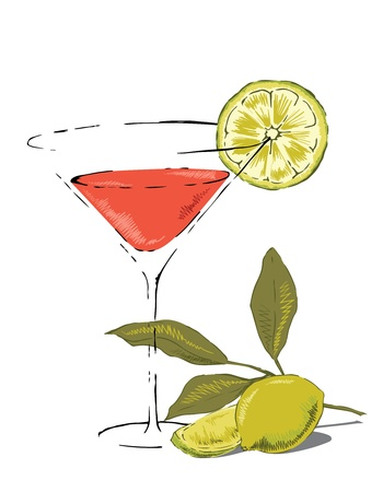 Glass of Cosmopolitam cocktail garnished with lime. Vector