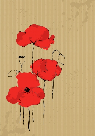 Poppies painted on packing paper Illustration