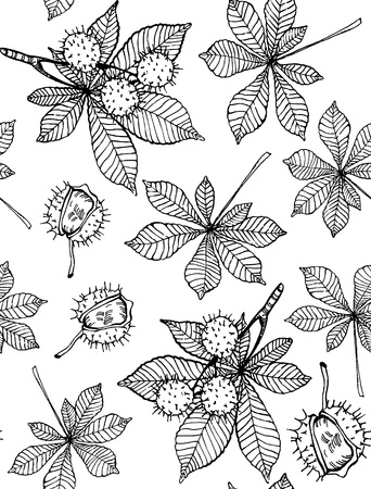 Seamless pattern of hand drawn chestnut leaves and nuts