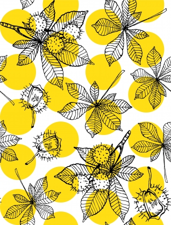 Seamless pattern of hand drawn chestnut leaves and nuts against yellow dots