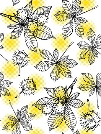 Seamless pattern of hand drawn chestnut leaves and fruits against yellow halftone dots