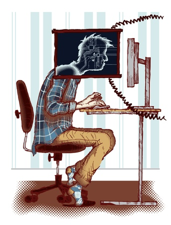 freak: Concept of computer addiction  Illustration