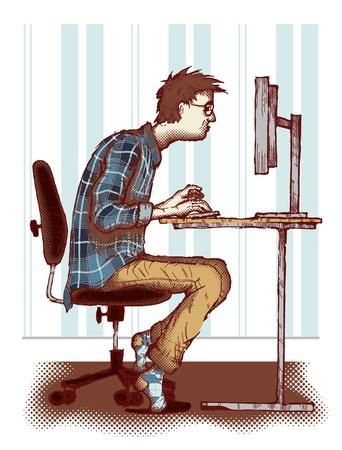 Concept of computer addiction  Illustration
