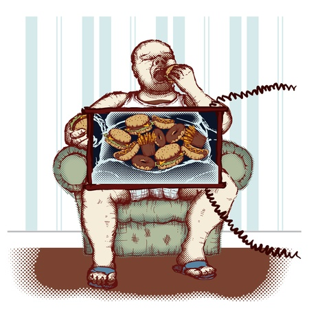 excess: Concept of obesity caused by eating fast food Illustration