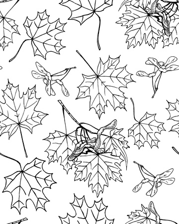 Seamless pattern of hand drawn maple leaves and fruits