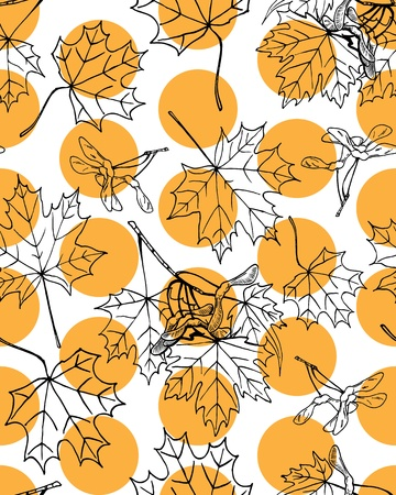 Seamless pattern of hand drawn maple leaves and fruits against orange dots