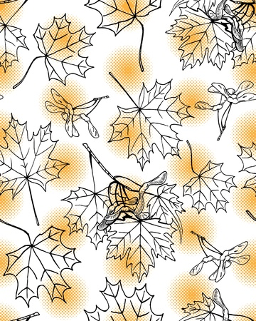 Seamless pattern of hand drawn maple leaves and fruits against orange halftone dots