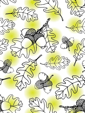 Seamless pattern of hand drawn oak leaves and acorns against lime green halftone dots