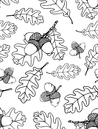 Seamless pattern of hand drawn oak leaves and acorns