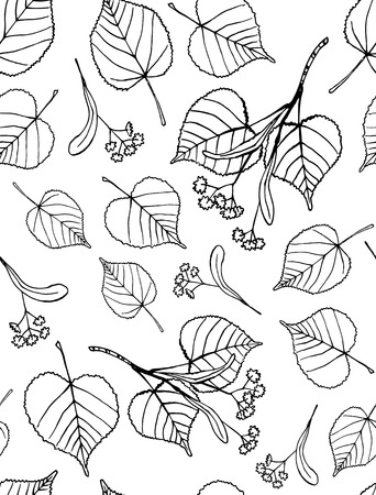 Seamless pattern of hand drawn tilia leaves and flowers  Illustration