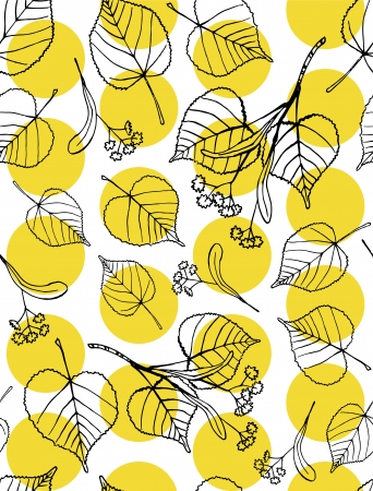 Seamless pattern of hand drawn tilia leaves and flowers against yellow dots  Illustration