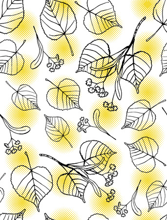 Seamless pattern of hand drawn tilia leaves and flowers against yellow halftone dots  Illustration