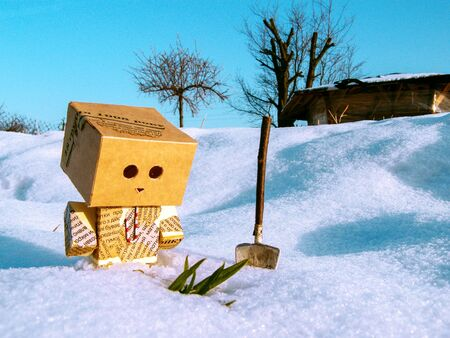 Winter. Adventures of a Small Cardboard Man