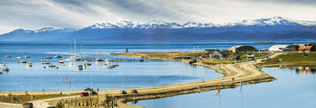 Ushuaia is the southernmost city in the world. It is located on the shores of the Beagle Channel, at the southern tip of Tierra del Fuego Island, Argentina.  Stock Photo