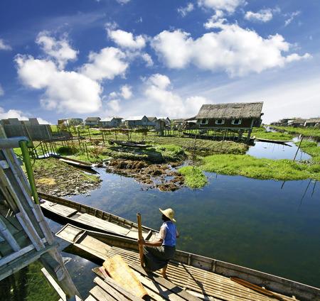 pile dwelling: Life on water, settlement on the Inle Lake, Burma (Myanmar)  Stock Photo