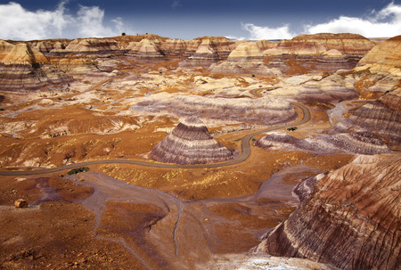 triassic: Beautiful view of Blue Mesa hiking trail through badlands landscape at Petrified Forest National Park in Arizona, USA