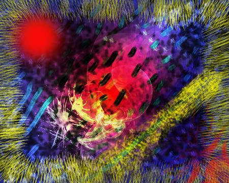 night vision: Dark night vision, abstract painting. Stock Photo