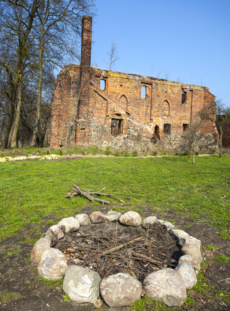 cistercian: Camp fire place in front of Post Cistercian ruins in Bierzwnik village  part of Cistercian Trail in Poland , Poland