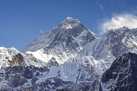 Mount Everest Peak, Himalayan Range, Nepal  Stock Photo