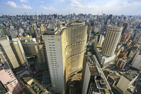 Famous view of skyline of Sao Paulo s downtown, Brazil  Stock Photo