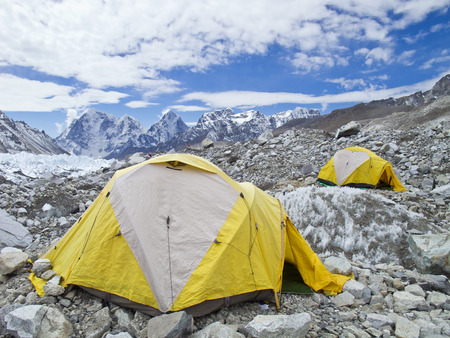 Tents in Everest Base C& in cloudy day Here starts the climb to reach the top & Tents In Everest Base Camp In Cloudy Day Here Starts The Climb ...